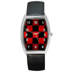 Black And Red Backgrounds Barrel Style Metal Watch