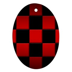 Black And Red Backgrounds Oval Ornament (two Sides)