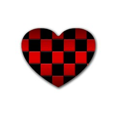 Black And Red Backgrounds Rubber Coaster (heart)