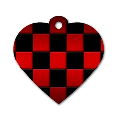 Black And Red Backgrounds Dog Tag Heart (two Sides)