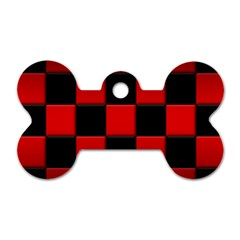 Black And Red Backgrounds Dog Tag Bone (one Side)