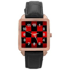 Black And Red Backgrounds Rose Gold Leather Watch