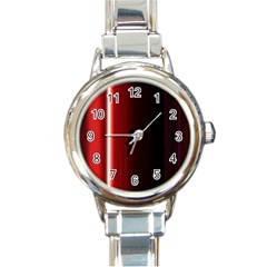 Black And Red Round Italian Charm Watch