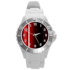 Black And Red Round Plastic Sport Watch (l)