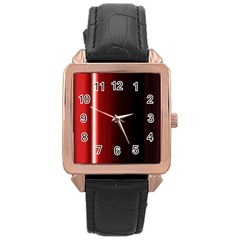 Black And Red Rose Gold Leather Watch