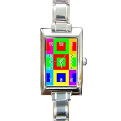 Colors Purple And Yellow Rectangle Italian Charm Watch