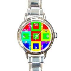 Colors Purple And Yellow Round Italian Charm Watch