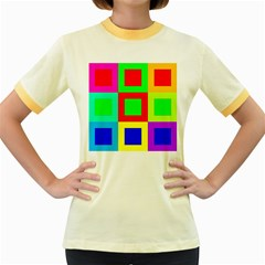 Colors Purple And Yellow Women s Fitted Ringer T Shirts
