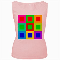 Colors Purple And Yellow Women s Pink Tank Top