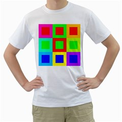 Colors Purple And Yellow Men s T-Shirt (White) (Two Sided)