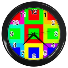 Colors Purple And Yellow Wall Clocks (black)