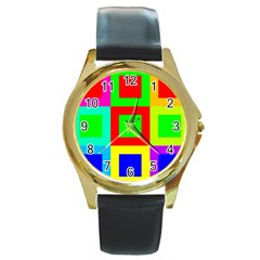 Colors Purple And Yellow Round Gold Metal Watch