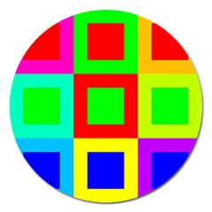 Colors Purple And Yellow Magnet 5  (Round)