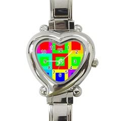 Colors Purple And Yellow Heart Italian Charm Watch