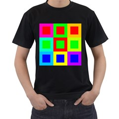 Colors Purple And Yellow Men s T Shirt (black) (two Sided)