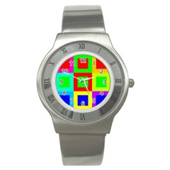Colors Purple And Yellow Stainless Steel Watch