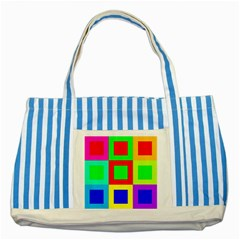 Colors Purple And Yellow Striped Blue Tote Bag