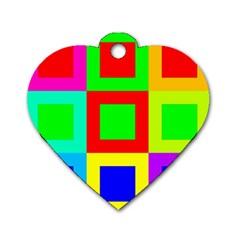 Colors Purple And Yellow Dog Tag Heart (one Side)