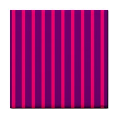 Deep Pink And Black Vertical Lines Tile Coasters