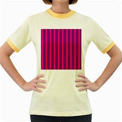 Deep Pink And Black Vertical Lines Women s Fitted Ringer T Shirts