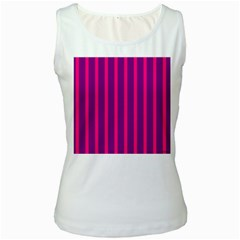 Deep Pink And Black Vertical Lines Women s White Tank Top