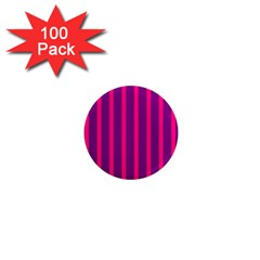 Deep Pink And Black Vertical Lines 1  Mini Magnets (100 Pack)