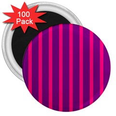 Deep Pink And Black Vertical Lines 3  Magnets (100 Pack)
