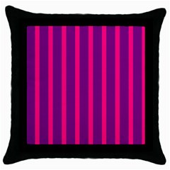 Deep Pink And Black Vertical Lines Throw Pillow Case (black)