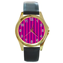 Deep Pink And Black Vertical Lines Round Gold Metal Watch