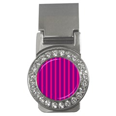 Deep Pink And Black Vertical Lines Money Clips (CZ)