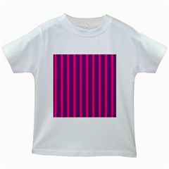 Deep Pink And Black Vertical Lines Kids White T Shirts