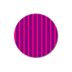 Deep Pink And Black Vertical Lines Magnet 3  (round)
