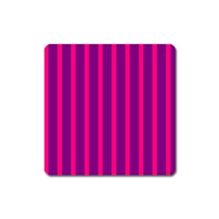Deep Pink And Black Vertical Lines Square Magnet