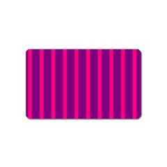 Deep Pink And Black Vertical Lines Magnet (name Card)