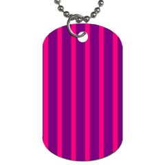 Deep Pink And Black Vertical Lines Dog Tag (one Side)