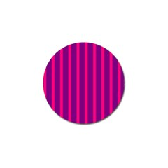 Deep Pink And Black Vertical Lines Golf Ball Marker