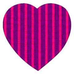 Deep Pink And Black Vertical Lines Jigsaw Puzzle (heart)