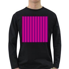 Deep Pink And Black Vertical Lines Long Sleeve Dark T Shirts