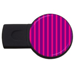 Deep Pink And Black Vertical Lines Usb Flash Drive Round (4 Gb)