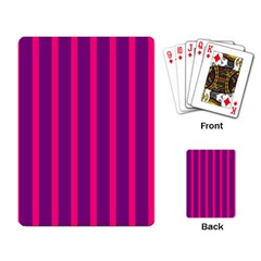 Deep Pink And Black Vertical Lines Playing Card