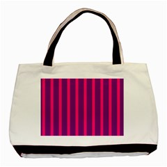 Deep Pink And Black Vertical Lines Basic Tote Bag