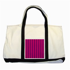 Deep Pink And Black Vertical Lines Two Tone Tote Bag
