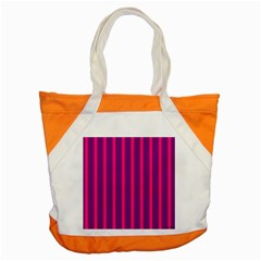 Deep Pink And Black Vertical Lines Accent Tote Bag