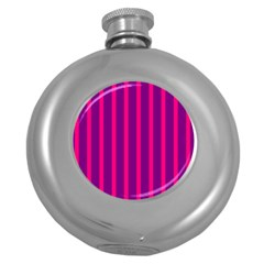 Deep Pink And Black Vertical Lines Round Hip Flask (5 Oz)