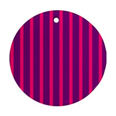 Deep Pink And Black Vertical Lines Round Ornament (two Sides)