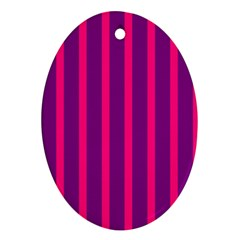 Deep Pink And Black Vertical Lines Oval Ornament (two Sides)
