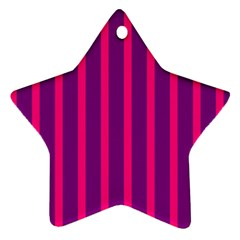 Deep Pink And Black Vertical Lines Star Ornament (Two Sides)