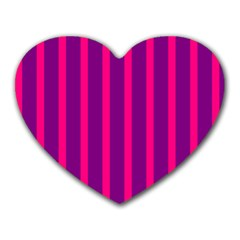 Deep Pink And Black Vertical Lines Heart Mousepads