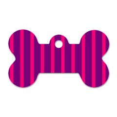 Deep Pink And Black Vertical Lines Dog Tag Bone (two Sides)