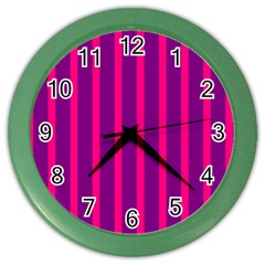 Deep Pink And Black Vertical Lines Color Wall Clocks